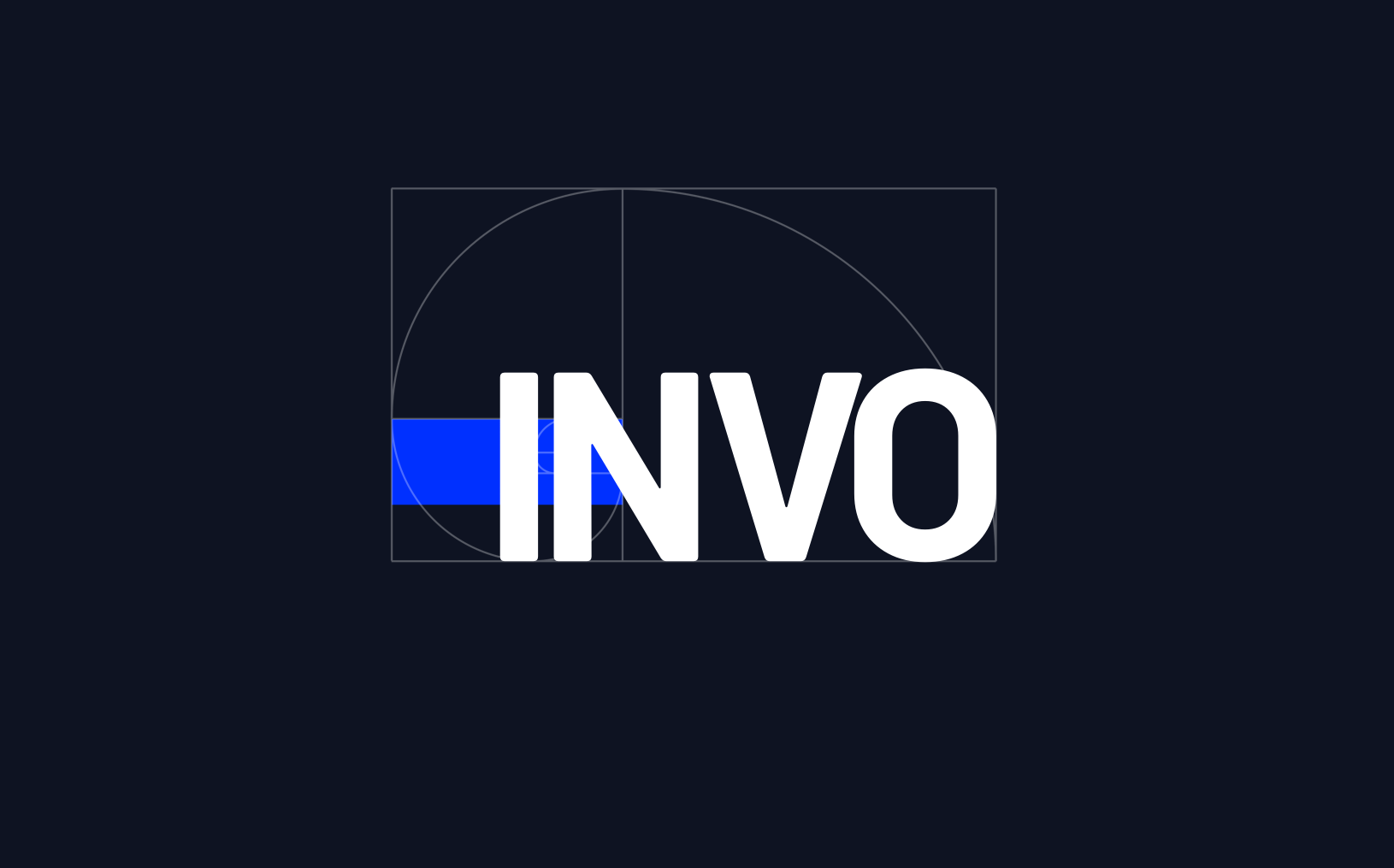 The INVO Technologies logo with a golden spiral placed onto it, to show an example of how to use the golden ratio in web design.