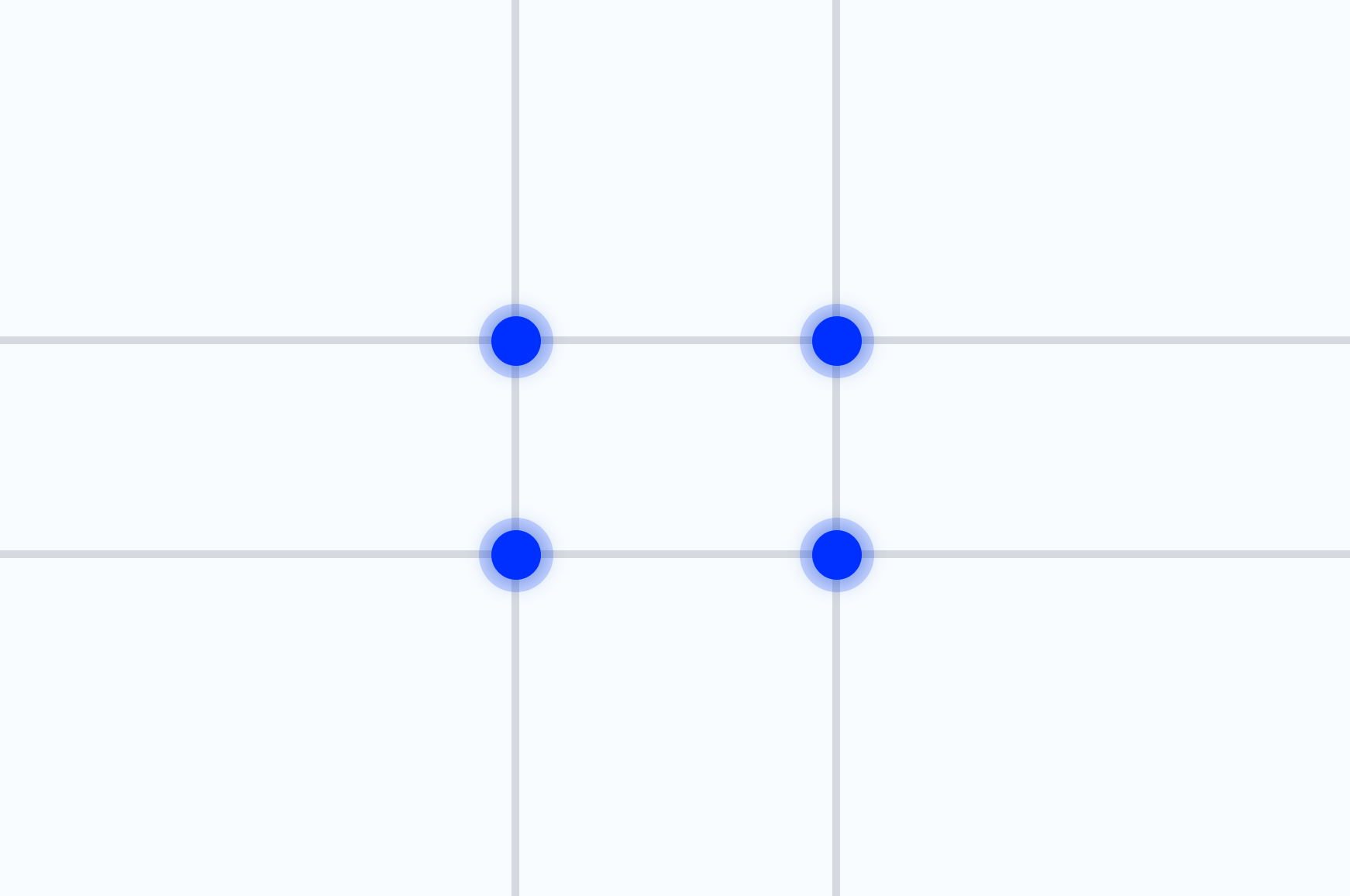 The Phi grid, which helps to use the golden ratio in web design, with the focus points marked.