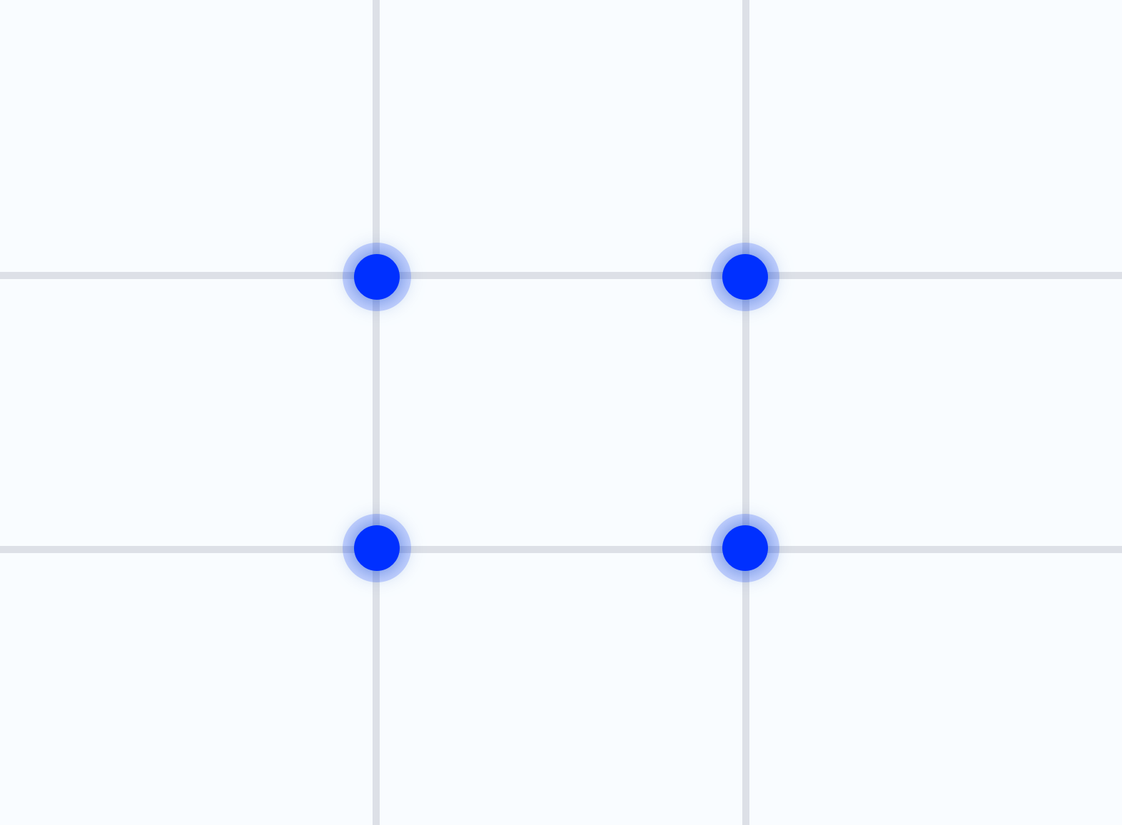 The Rule of Thirds grid, which helps to use the golden ratio in web design, with the focus points marked.