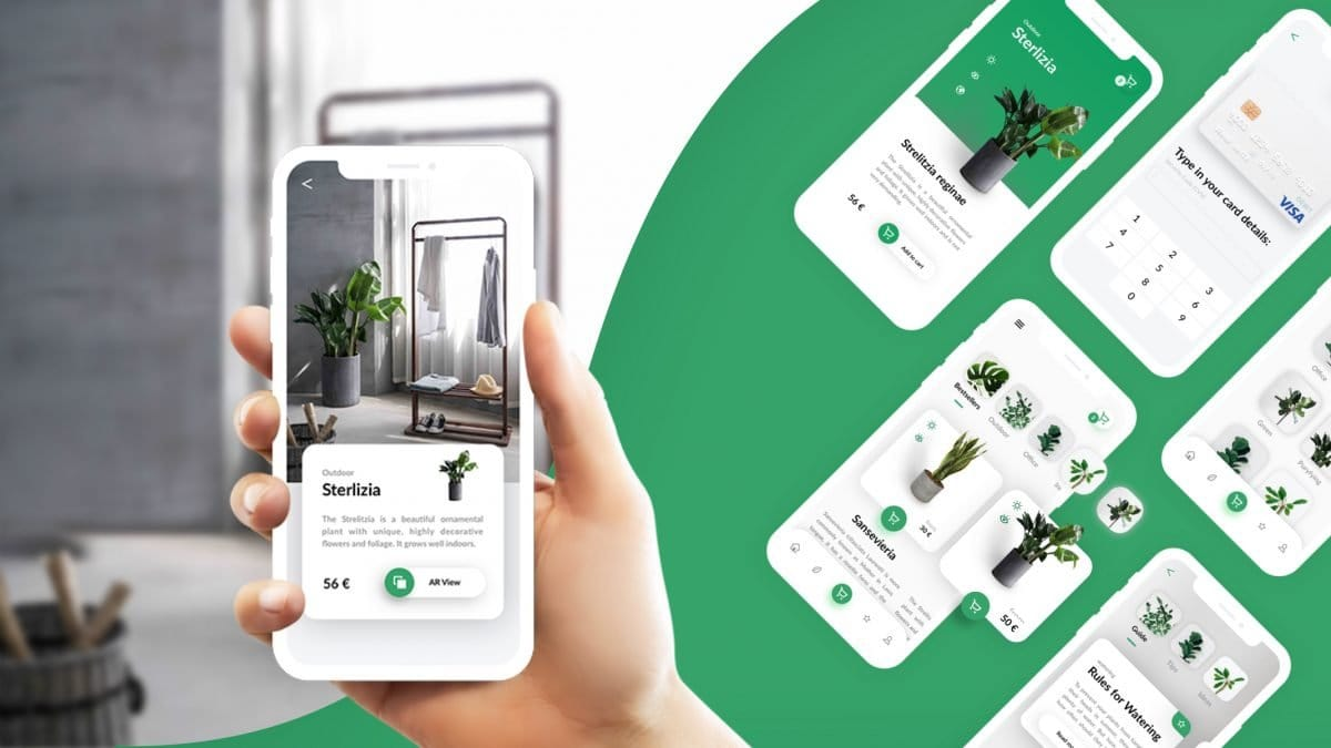 Plant eCommerce Mobile App with AR technology screens.