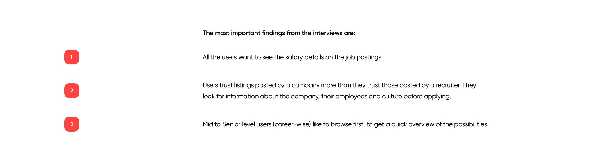 Key insights from our interviews for the job finder app.