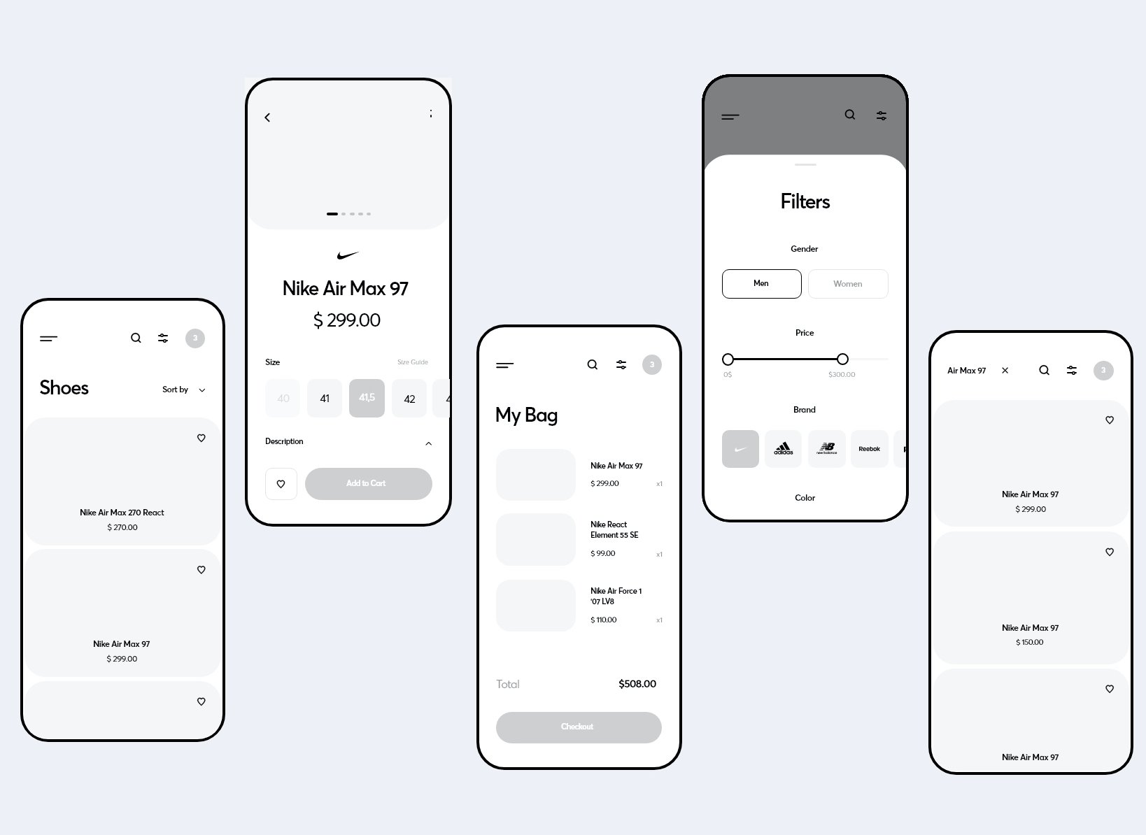 Wireframes for our eCommerce app concept store project