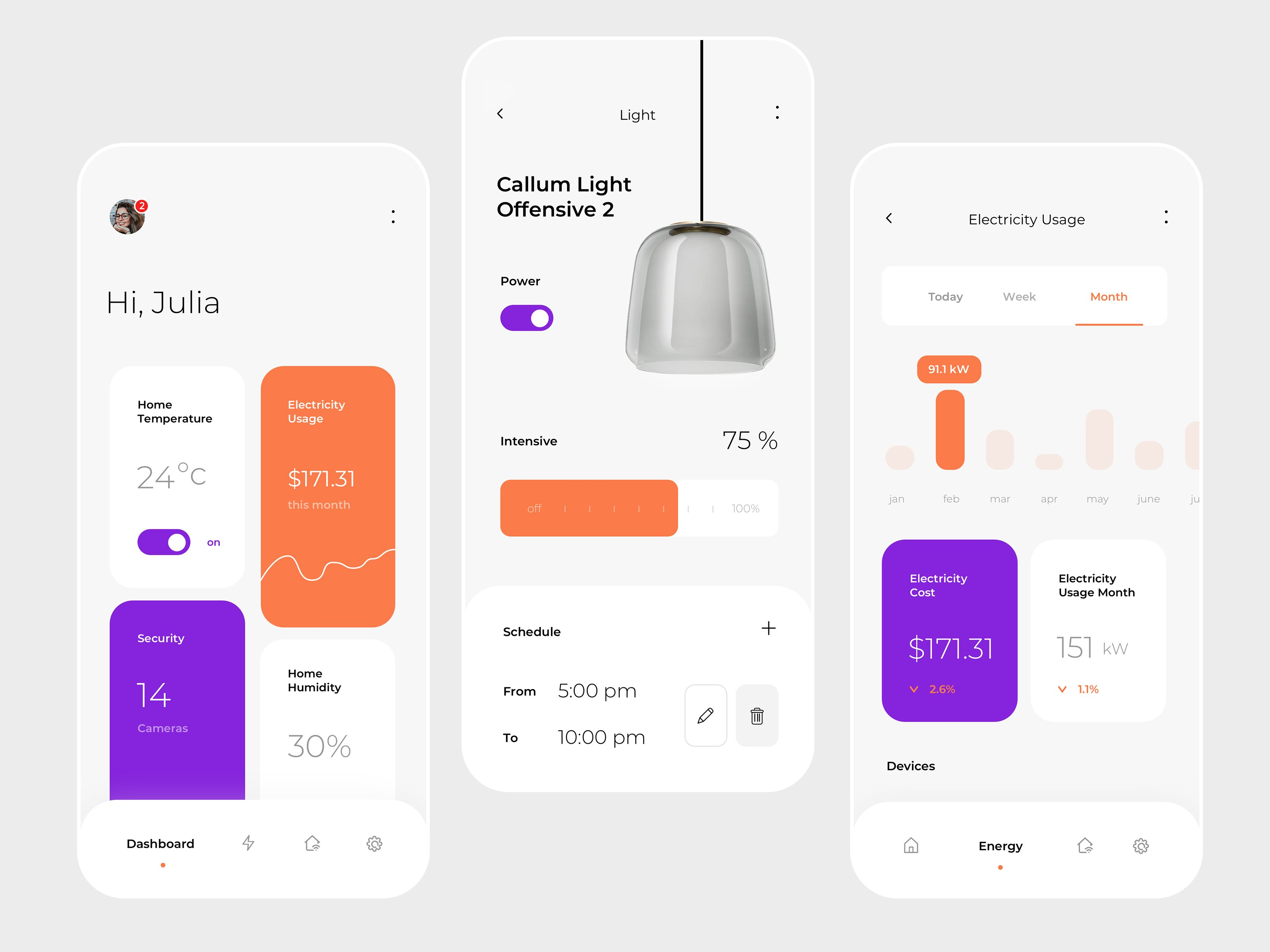 smart home app screens