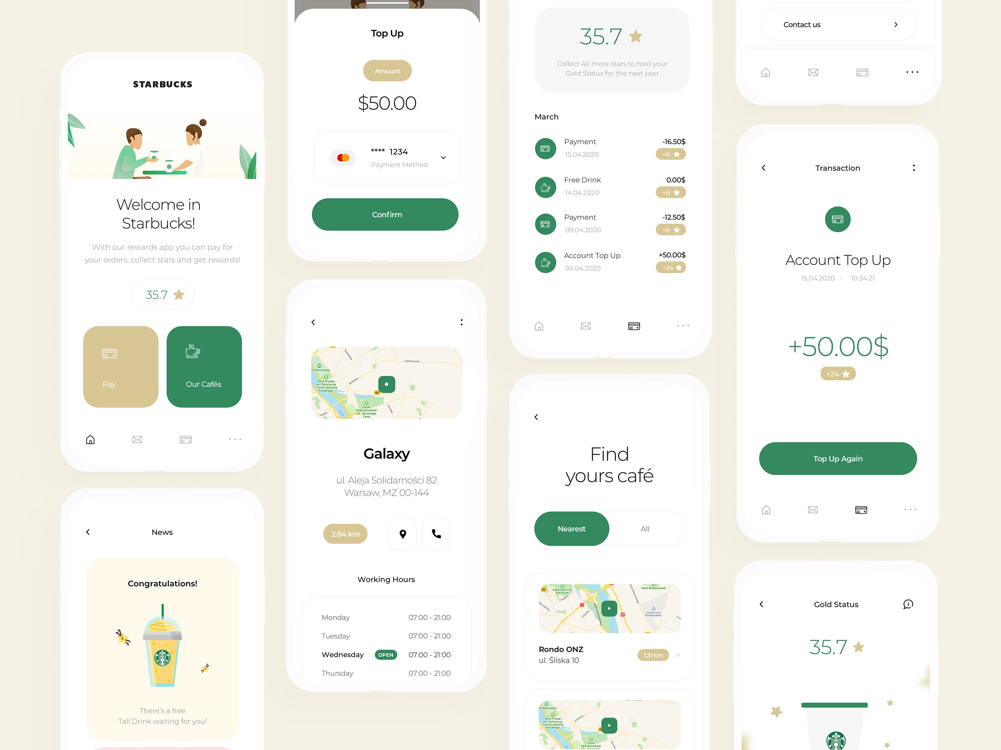 Screens from our redesigned Starbucks rewards app.